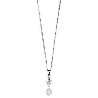 Elements Silver Freshwater Pearl and Cubic Zirconia Marquise Pendant - Silver/White