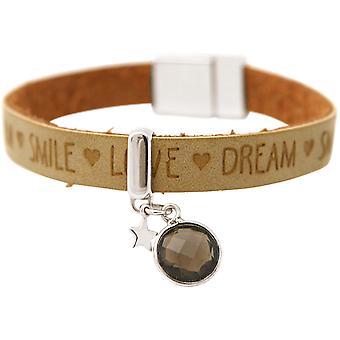 Gemshine Damen Armband STAR Stern 925 Silber WISHES Braun Sand Rauchquarz