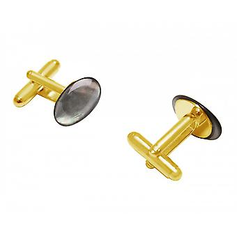 Men - cuff links - gold plated 16 mm - mother of Pearl - Grey-
