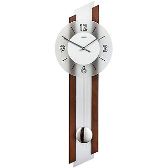 Wall clock with pendulum wooden rear wall wood inlay silver mineral glass