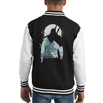 Wild Wonder Witcher Mountain Moon Silhouette Kid's Varsity Jacket