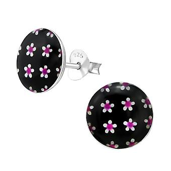 Flowery - 925 Sterling Silver Colourful Ear Studs - W28711x