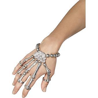 Smiffy van skelet Hand armband, zilver