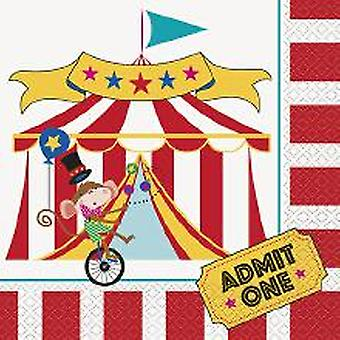 Funny circus kids party napkins 33 x 33 cm 16 piece circus party birthday decoration