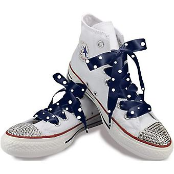 Navy Polka Satin Laces