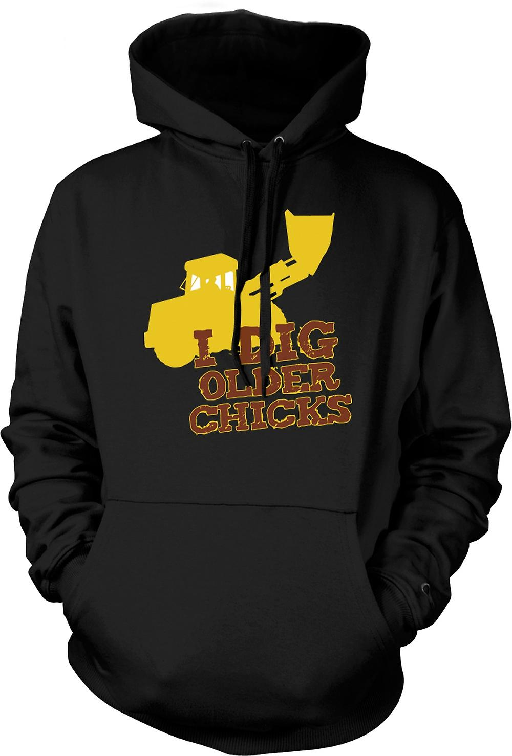 Mens Hoodie - I Dig Older Chicks - Quote