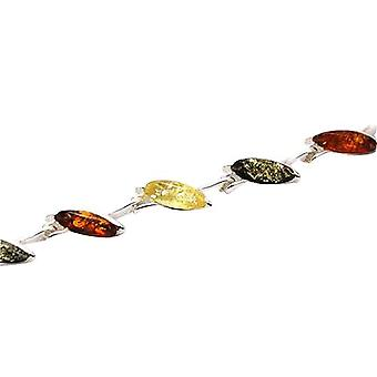 The Olivia Collection Sterling Silver Tri-Colour Amber Leaf Bracelet