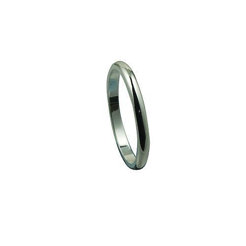 18ct White Gold 2mm plain D shaped Wedding Ring Size P