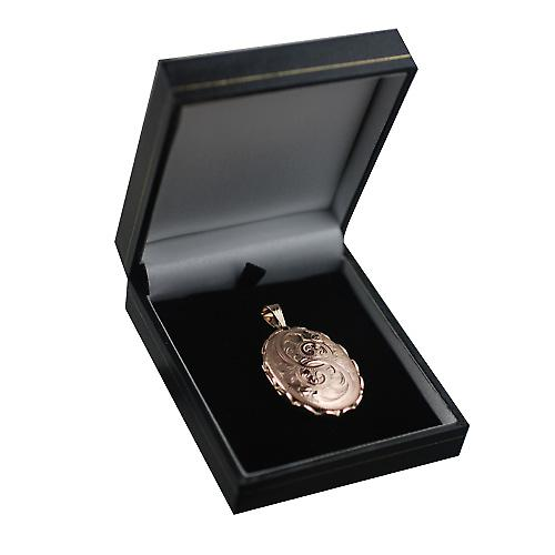 9ct Rose Gold 37x28mm hand engraved oval Locket
