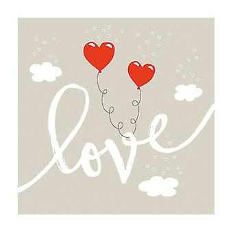 Ambiente 3 Ply Paper Lunch Napkins, Love Balloons Stone