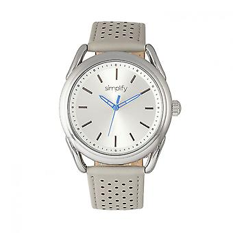 Simplify The 5900 Leather-Band Watch - Silver/Grey