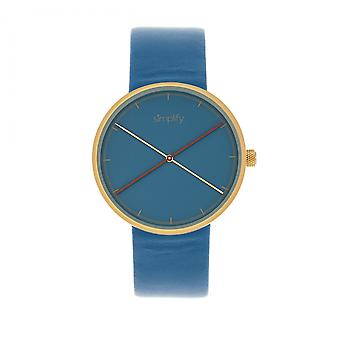 Simplify The 4100 Leather-Band Watch - Gold/Blue