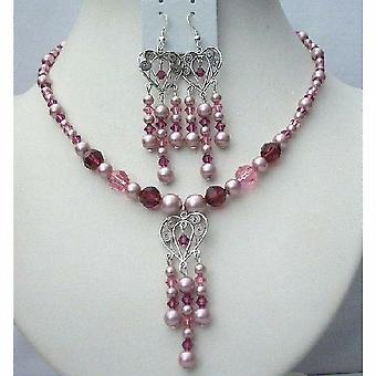 Swarovski Pearls Crystals Rose Powder Pink & Fuchsia Necklace Earrings