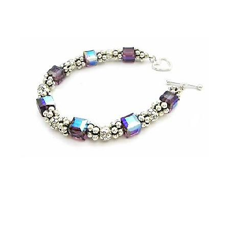 Bali Silver / Sterling Silver 925 Clasp Amethyst Crystal Gift Bracelet