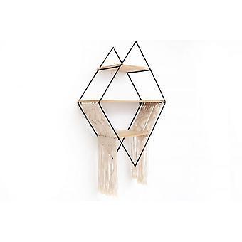 65x45cm ijzer- en weefsel decoratieve Diamond opslag plank eenheid muur opknoping Beige
