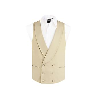 Dobell Mens Gold/Buff Morning Suit Waistcoat Reg Fit Shawl Lapel Double Breasted