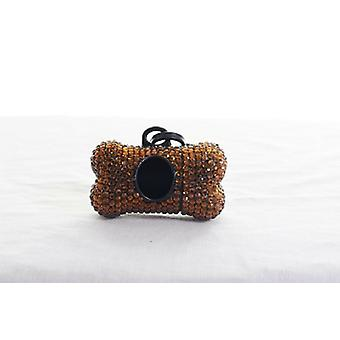 Brown Crystal Rhinestone Bone shaped Waste Bag Dispenser