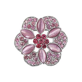 Eternal Collection Floral Passions Rose Pink Crystal Scarf Clip