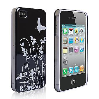 YouSave iPhone 4 4S Floral Butterfly Hard Case BlackSilver