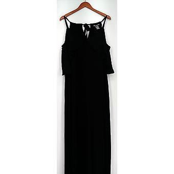 Kate & Mallory Kleid Sleevels Maxi mit kalten Schulter Rüschen schwarz A429663