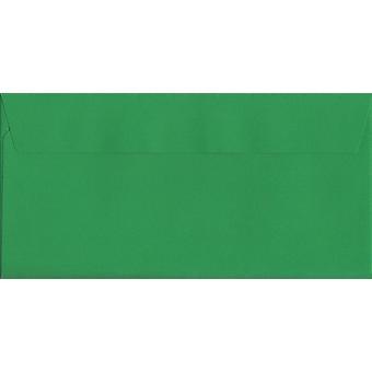 Holly Green Peel/tätning DL + färgade grönt kuvert. 120gsm Luxury FSC-certifierat papper. 114 mm x 229 mm. plånbok stil kuvert.
