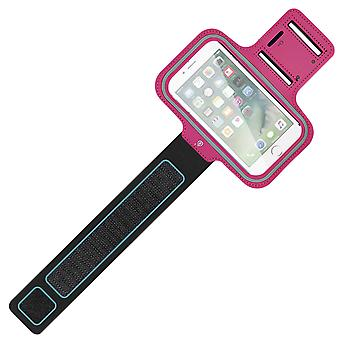 Sports Armband Smartphone Rainproof Case Touch Window Adjustable Strap Red