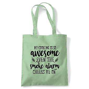 My Cooking Is So Awesome Tote (fr) Cuisson cuisson Ustensiles de cuisine Tablier de tablier Reusable Shopping Cotton Canvas Long Handled Natural Shopper Eco-Friendly Mode