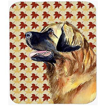 Leonberger Fall Leaves Portrait Mouse Pad, Hot Pad or Trivet