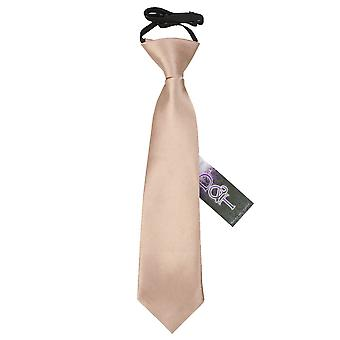 Boy's Plain Mocha Brown Satin Pre-Tied Tie (2-7 years)