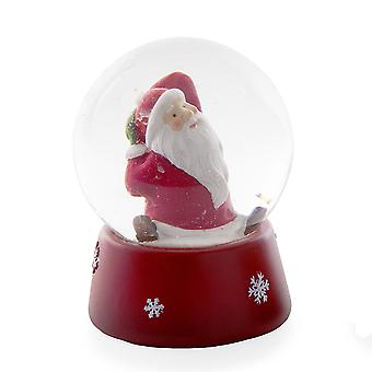 Traditional Look Festive Snow Globe with Exercising Father Christmas Sitting Figure