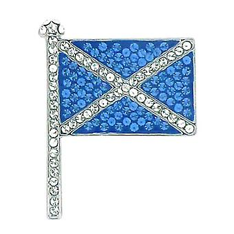 Butler and Wilson Small Crystal Scottish Flag Brooch