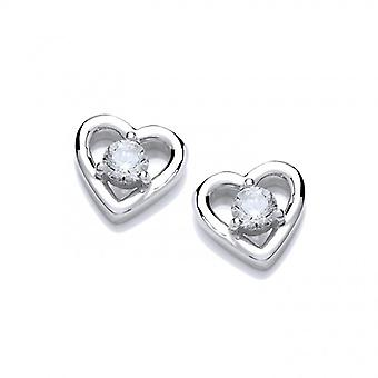 Cavendish French Cubic Zirconia Solitaire Heart Earrings