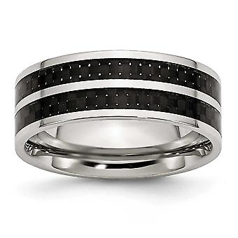 Stainless Steel Flat Band Engravable 8mm Double Row Black Carbon Fiber Inlay Polished Band Ring - Ring Size: 7 to 13
