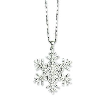 Sterling Silver and CZ Brilliant Embers Snowflake Necklace - 18 Inch