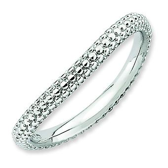 2.25mm Sterling Silver Stackable Expressions Polished Rhodium-plate Wave Ring - Ring Size: 5 to 10