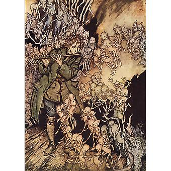 He Played Until The Room Was Entirely Filled With Gnomes Illustration By Arthur Rackham From Grimms Fairy Tale The Gnome Published Late 19Th Century PosterPrint