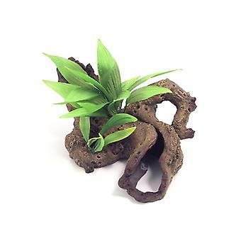 Blue Ribbon Decor Mopani trä W/växter stor 40 X20 X22cm
