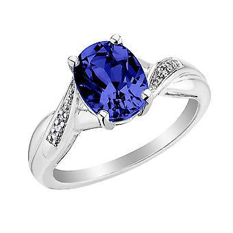 Created Blue Sapphire Ring with Diamonds 2.0 Carat (ctw) in Sterling Silver
