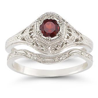 Enchanted Garnet Bridal Set in .925 Sterling Silver