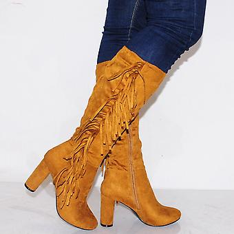 Koi Couture Ladies Kd10 Tan Fringe Knee High Boots