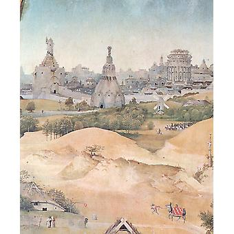 Hieronymus Bosch - Palace in Desert Poster Print Giclee