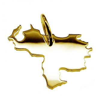 Trailer map VENEZUELA pendants in massive 585 gold