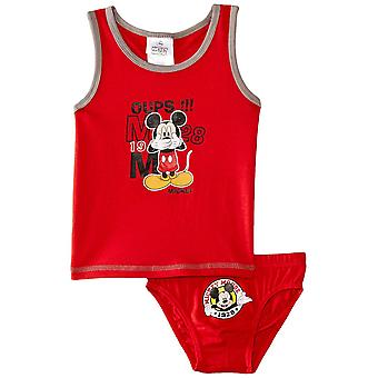 Boys Disney Mickey Mouse Sleeveless T-shirt/Vest and Briefs Set
