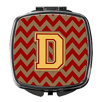 Letter D Chevron Garnet and Gold  Compact Mirror