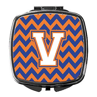Letter V Chevron Blue and Orange #3 Compact Mirror