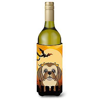 Botella de vino bebidas aislador Hugger de Halloween Chocolate marrón Shih Tzu