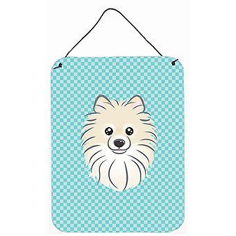 Checkerboard Blue Pomeranian Wall or Door Hanging Prints