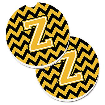 Letter Z Chevron Black and Gold Set of 2 Cup Holder Car Coasters