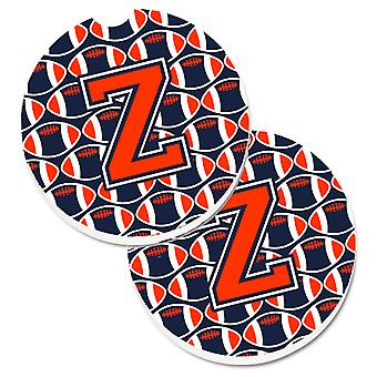 Letter Z Football Orange, Blue and white Set of 2 Cup Holder Car Coasters