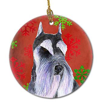 Schnauzer Red Snowflakes Holiday Christmas Ceramic Ornament SS4684